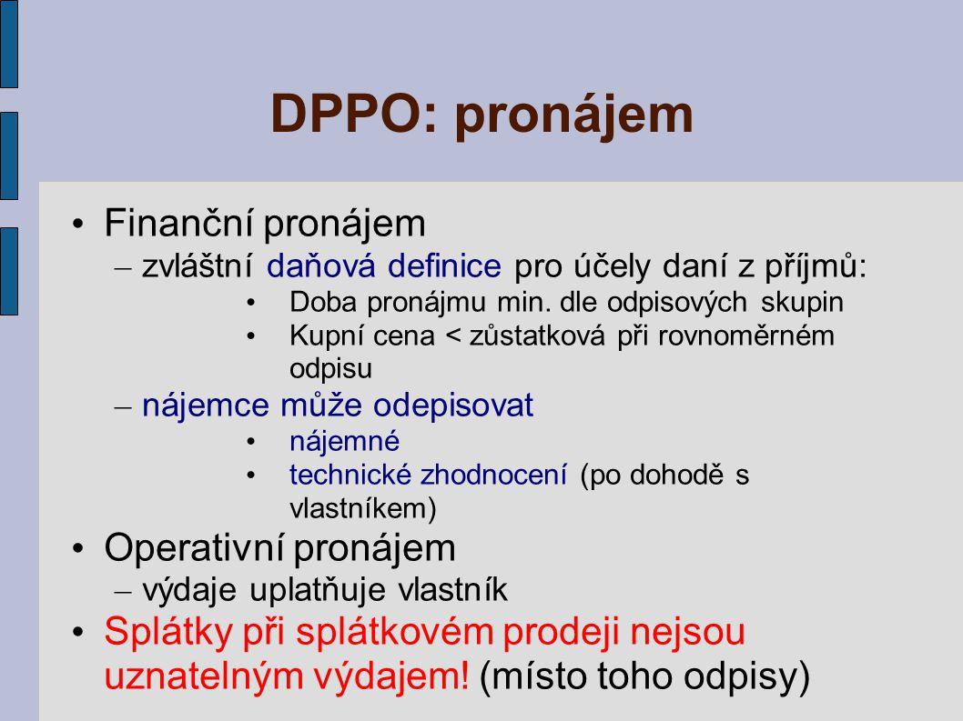 DPPO: pronájem Finanční pronájem Operativní pronájem