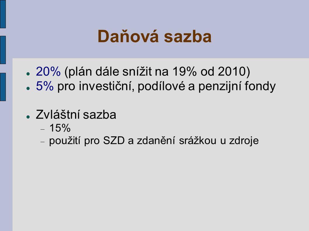 Daňová sazba 20% (plán dále snížit na 19% od 2010)
