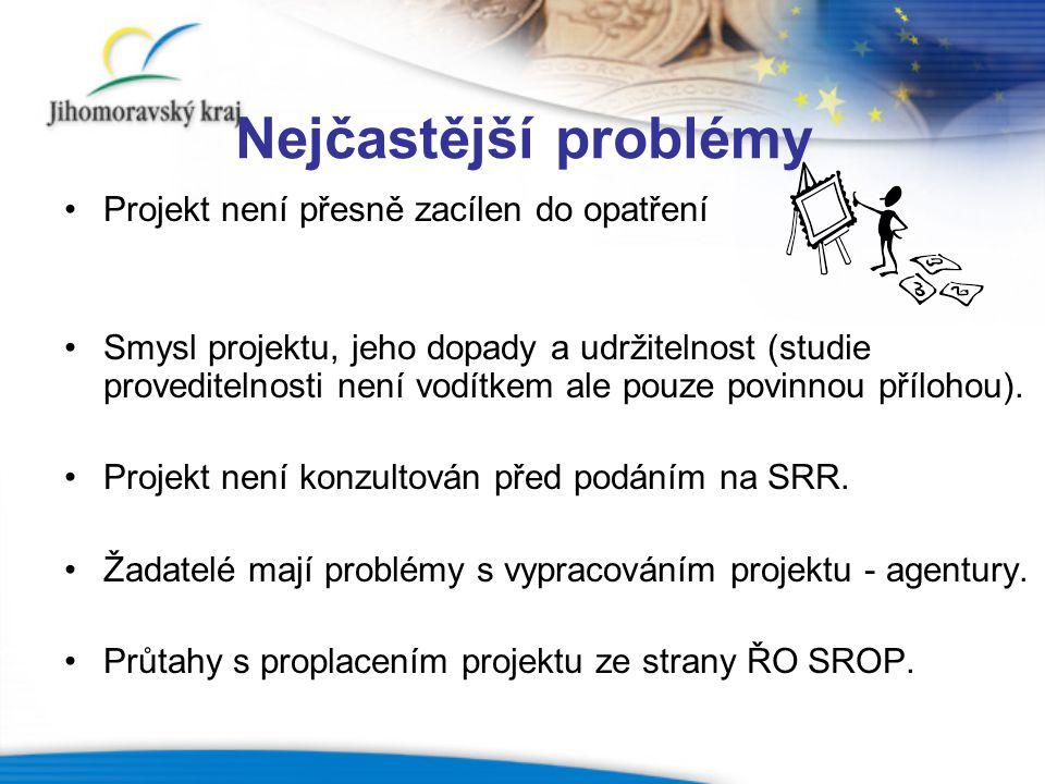 Nejčastější problémy Projekt není přesně zacílen do opatření