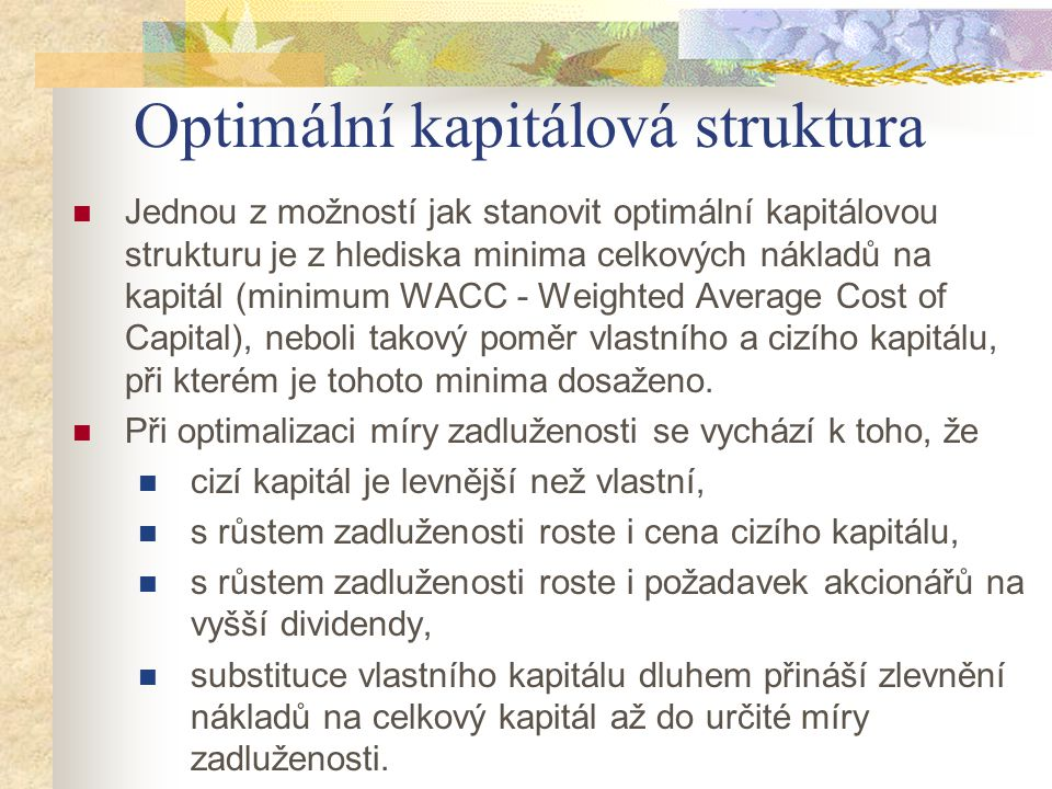 Optimální kapitálová struktura