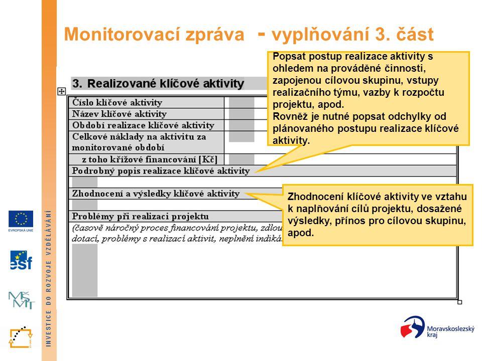 Monitorovací zpráva - vyplňování 3. část