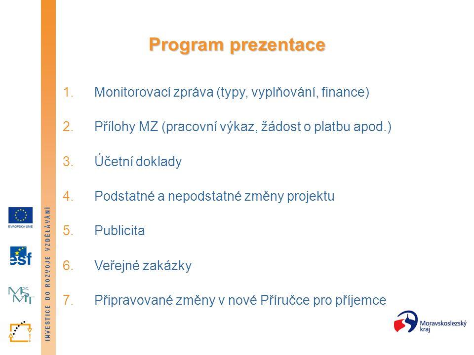 Program prezentace Monitorovací zpráva (typy, vyplňování, finance)