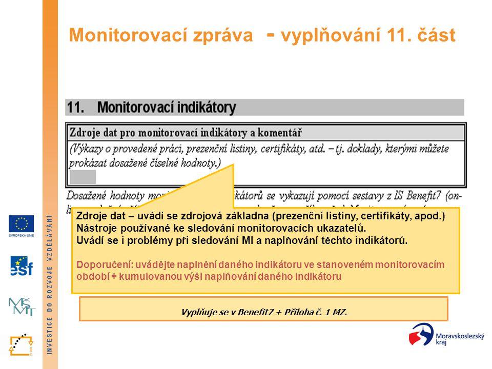 Monitorovací zpráva - vyplňování 11. část