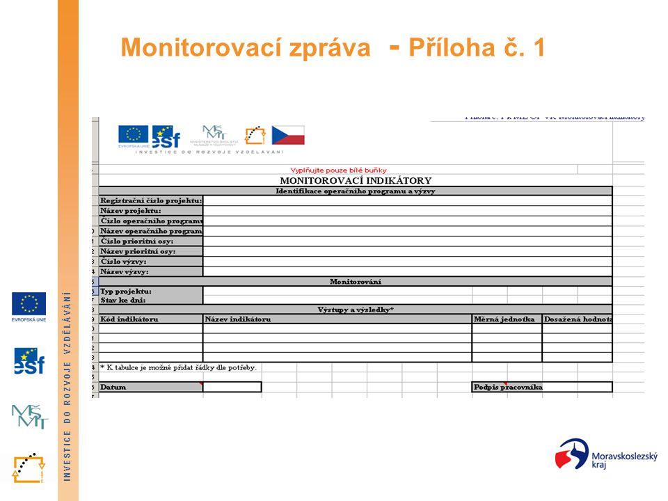 Monitorovací zpráva - Příloha č. 1