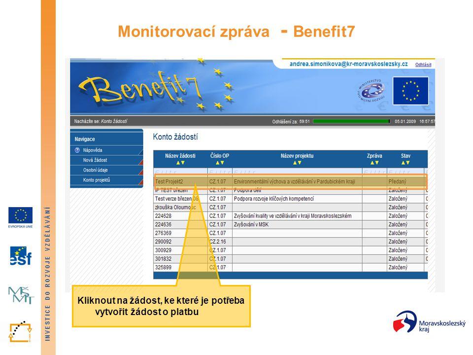 Monitorovací zpráva - Benefit7