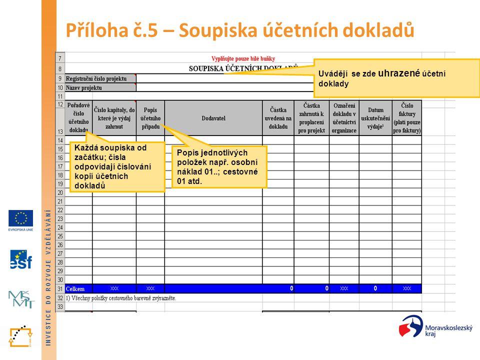 Příloha č.5 – Soupiska účetních dokladů
