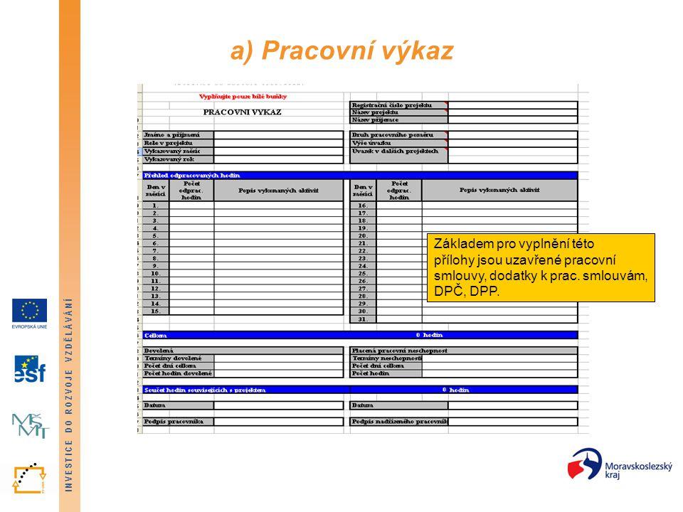 a) Pracovní výkaz Základem pro vyplnění této přílohy jsou uzavřené pracovní smlouvy, dodatky k prac.