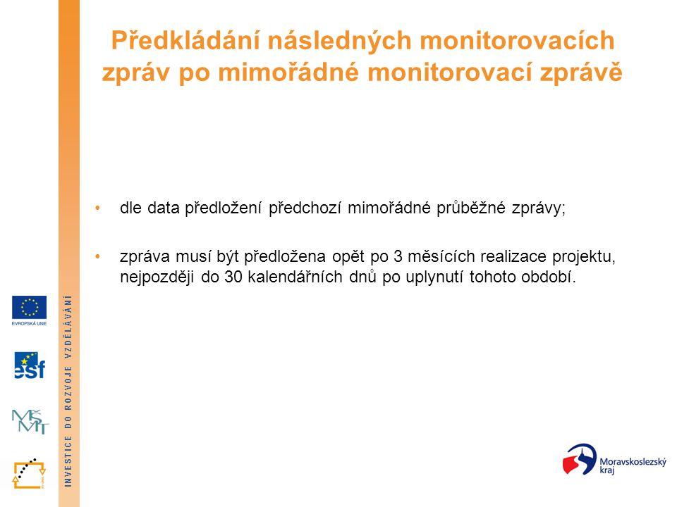 Předkládání následných monitorovacích zpráv po mimořádné monitorovací zprávě