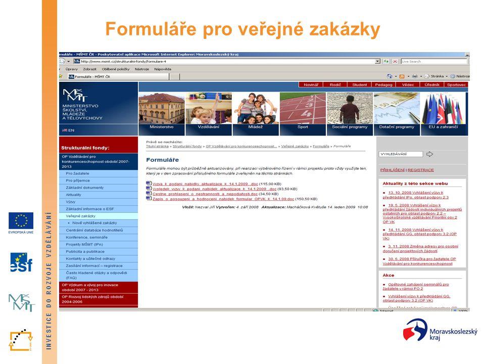 Formuláře pro veřejné zakázky