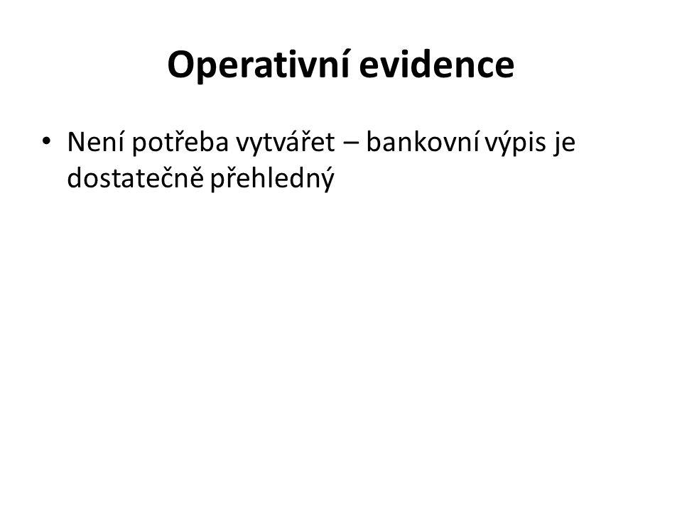Operativní evidence Není potřeba vytvářet – bankovní výpis je dostatečně přehledný