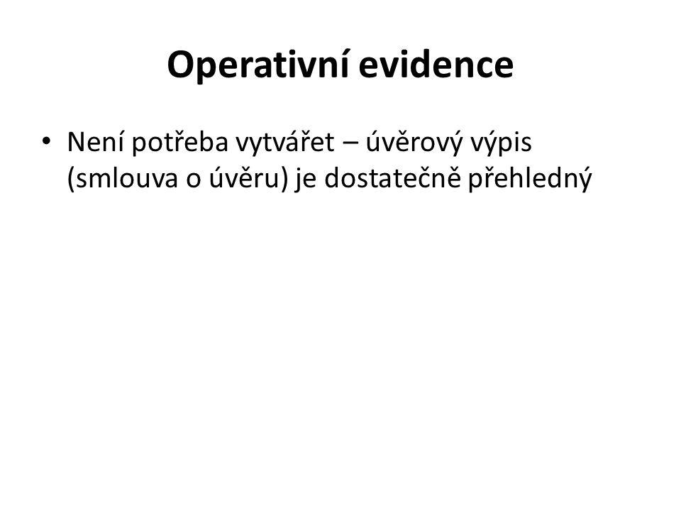 Operativní evidence Není potřeba vytvářet – úvěrový výpis (smlouva o úvěru) je dostatečně přehledný