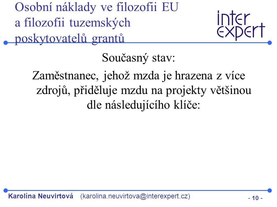 Osobní náklady ve filozofii EU a filozofii tuzemských poskytovatelů grantů