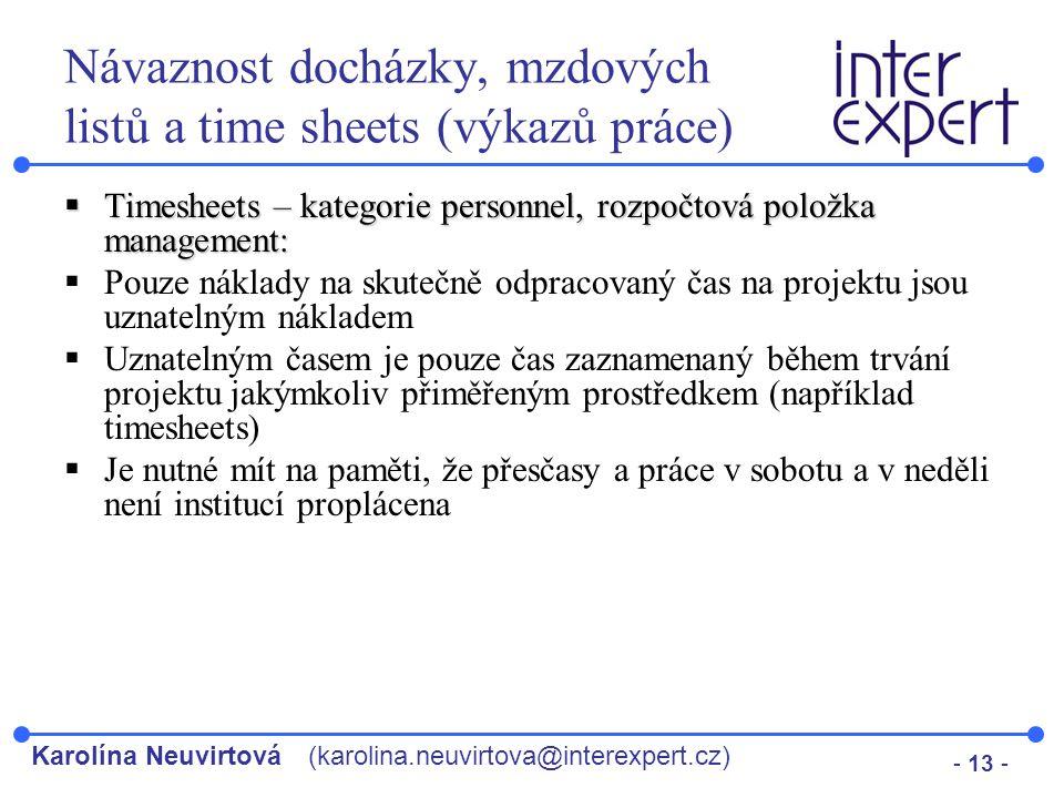 Návaznost docházky, mzdových listů a time sheets (výkazů práce)