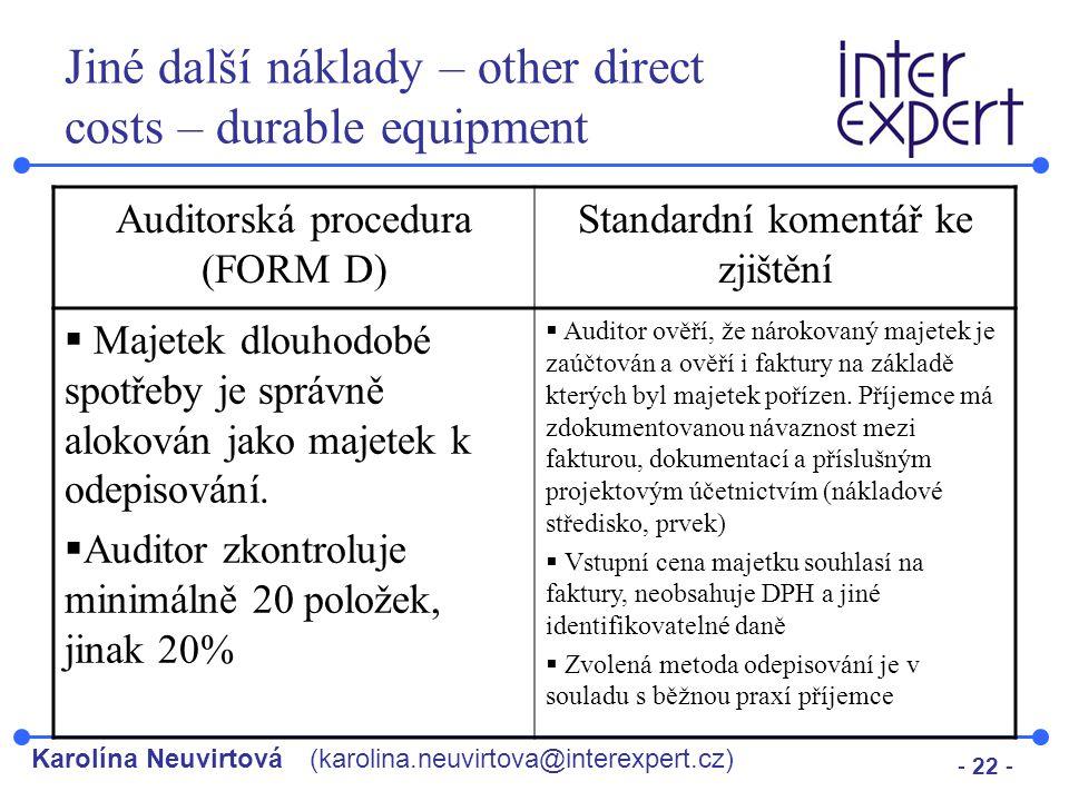 Jiné další náklady – other direct costs – durable equipment
