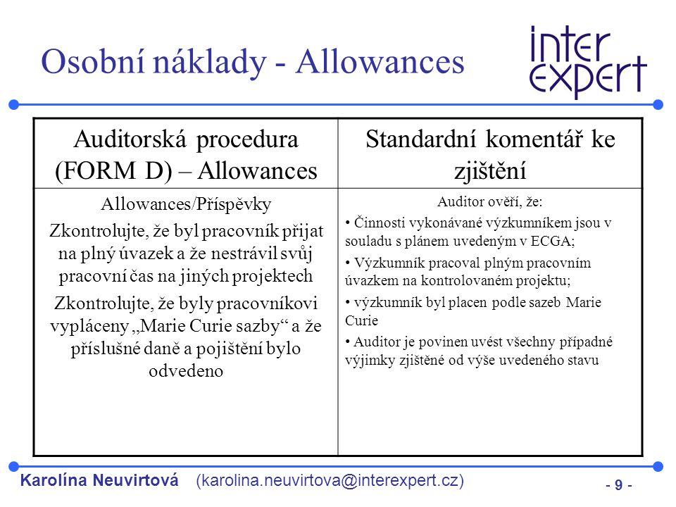 Osobní náklady - Allowances