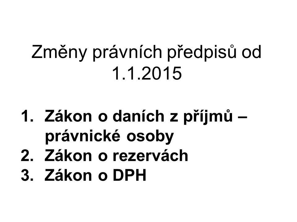 Změny právních předpisů od 1.1.2015
