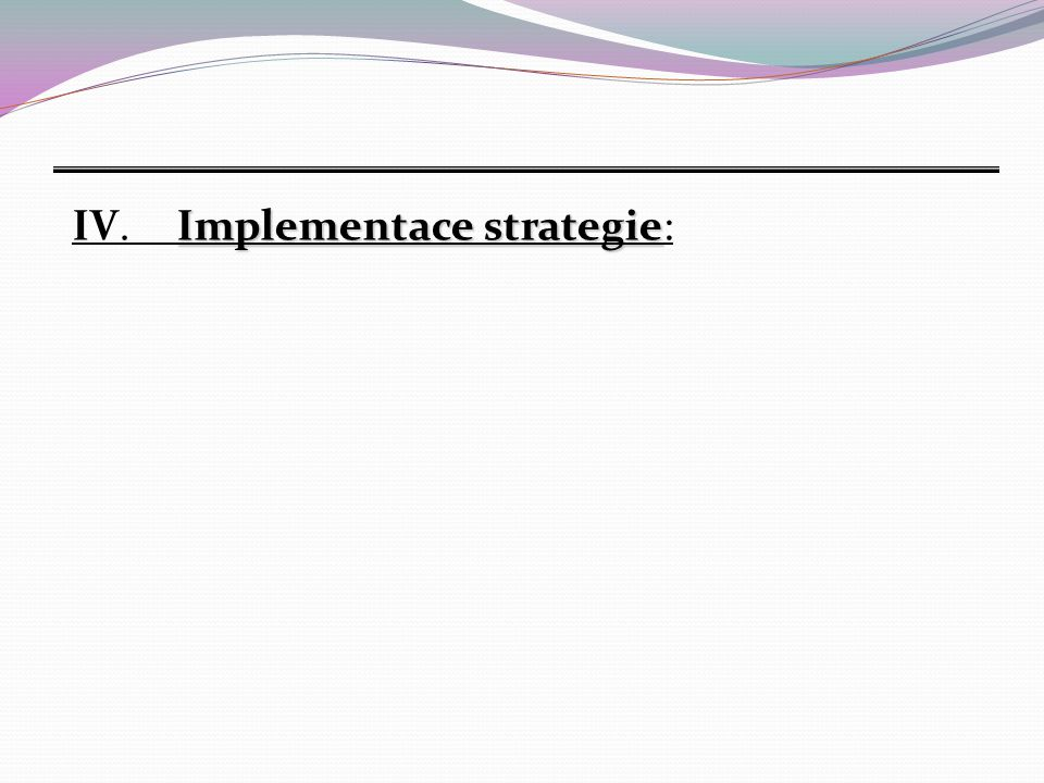 IV. Implementace strategie: