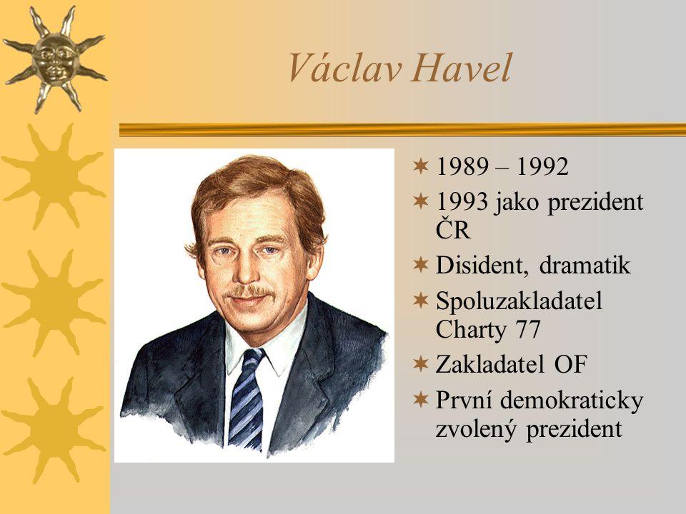 Václav Havel 1989 – 1992 1993 jako prezident ČR Disident, dramatik