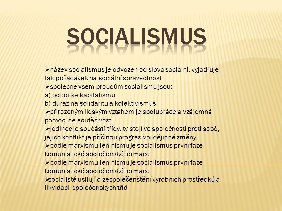 Socialismus název socialismus je odvozen od slova sociální, vyjadřuje tak požadavek na sociální spravedlnost.