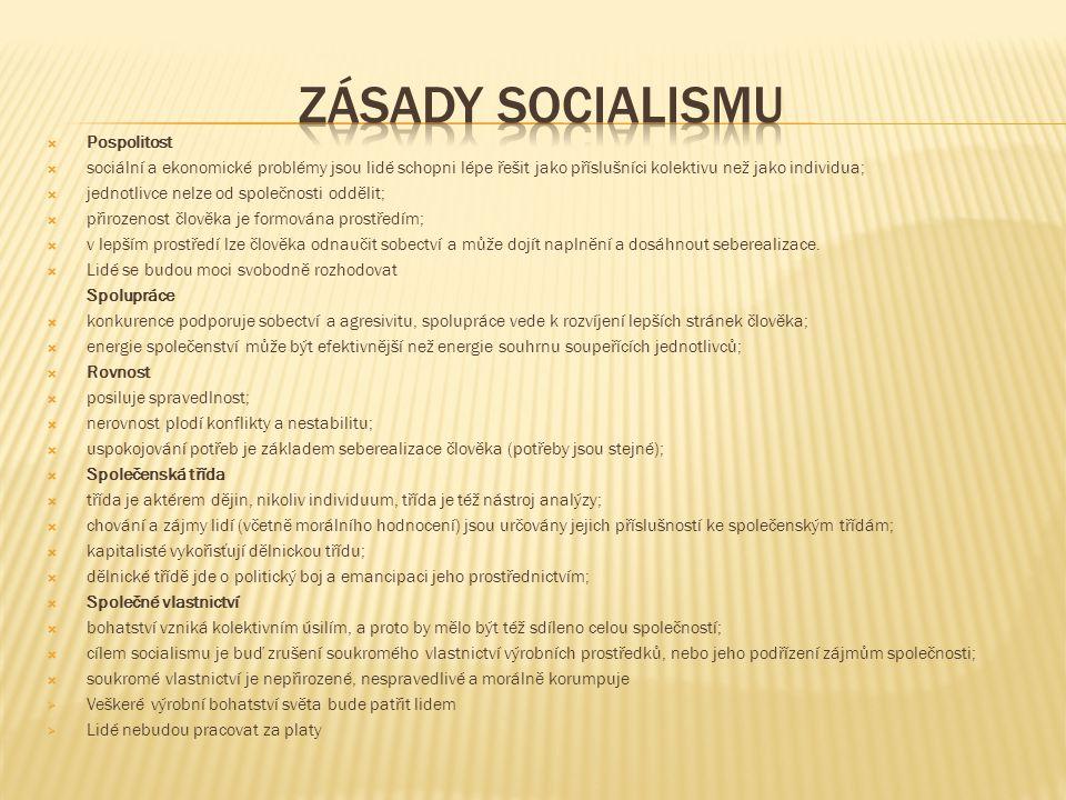 ZÁSADY SOCIALISMU Pospolitost