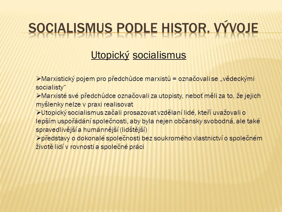 Socialismus podle histor. vývoje