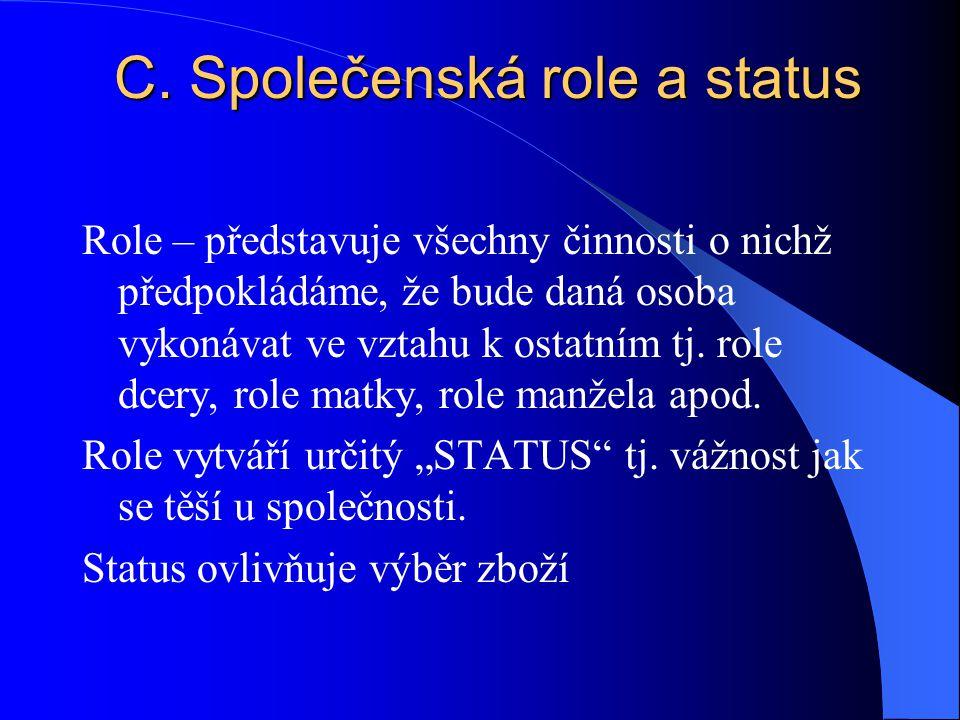 C. Společenská role a status