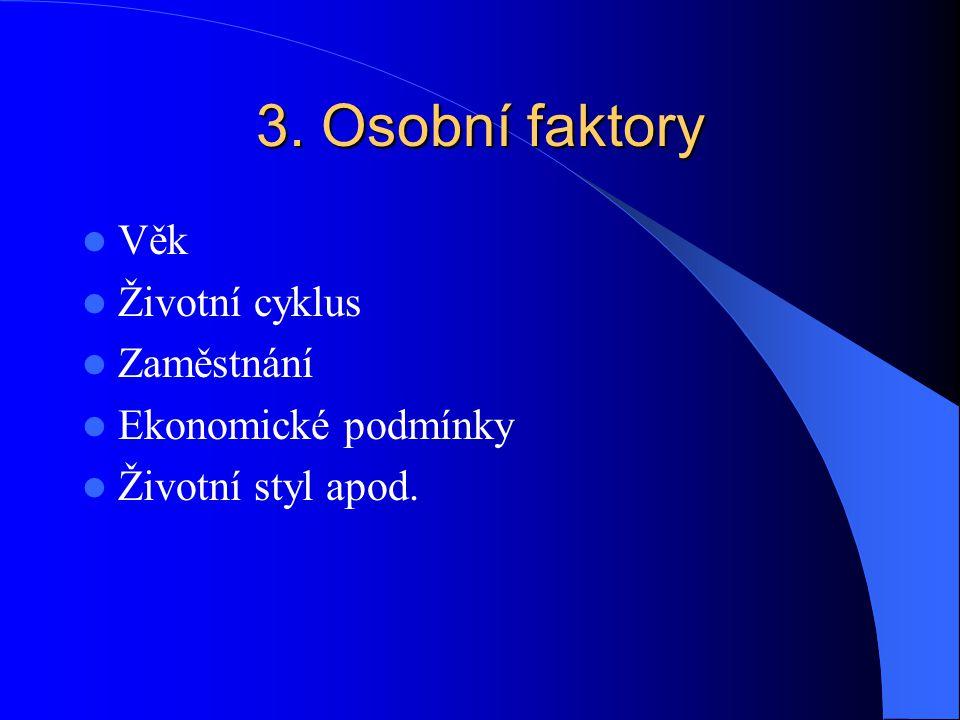 3. Osobní faktory Věk Životní cyklus Zaměstnání Ekonomické podmínky