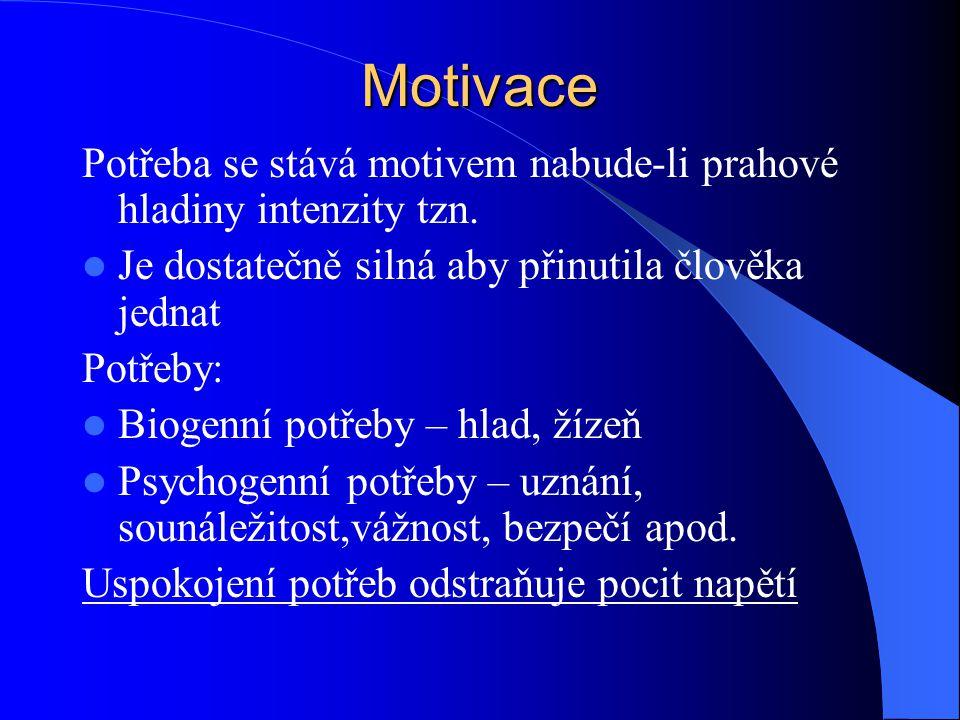 Motivace Potřeba se stává motivem nabude-li prahové hladiny intenzity tzn. Je dostatečně silná aby přinutila člověka jednat.