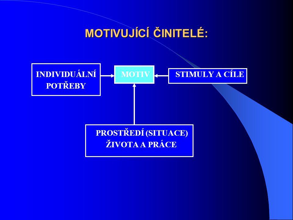MOTIVUJÍCÍ ČINITELÉ: INDIVIDUÁLNÍ MOTIV STIMULY A CÍLE POTŘEBY