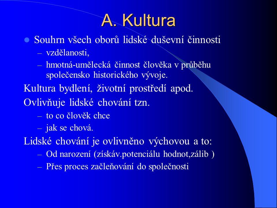 A. Kultura Souhrn všech oborů lidské duševní činnosti