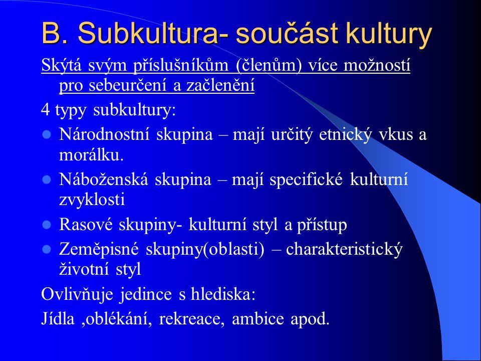 B. Subkultura- součást kultury
