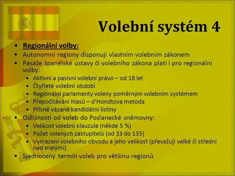 V regionálních volbách disponuje každý autonomní region vlastním volebním zákonem. Přesto však některé pasáže španělské ústavy či volebního zákona platí i pro regionální volby. Je to například aktivní a pasivní volební právo od 18 let a čtyřleté volební období. Regionální parlamenty dále musí být voleny poměrným volebním systémem a přepočítávání hlasů probíhá dle D'Hondtovy metody. Kandidátní listiny jsou přísně vázané.