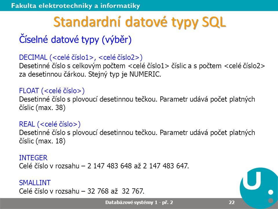 Standardní datové typy SQL