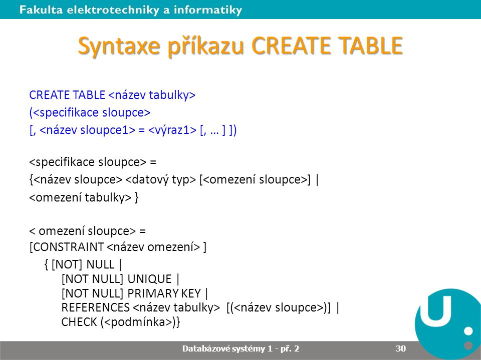 Syntaxe příkazu CREATE TABLE