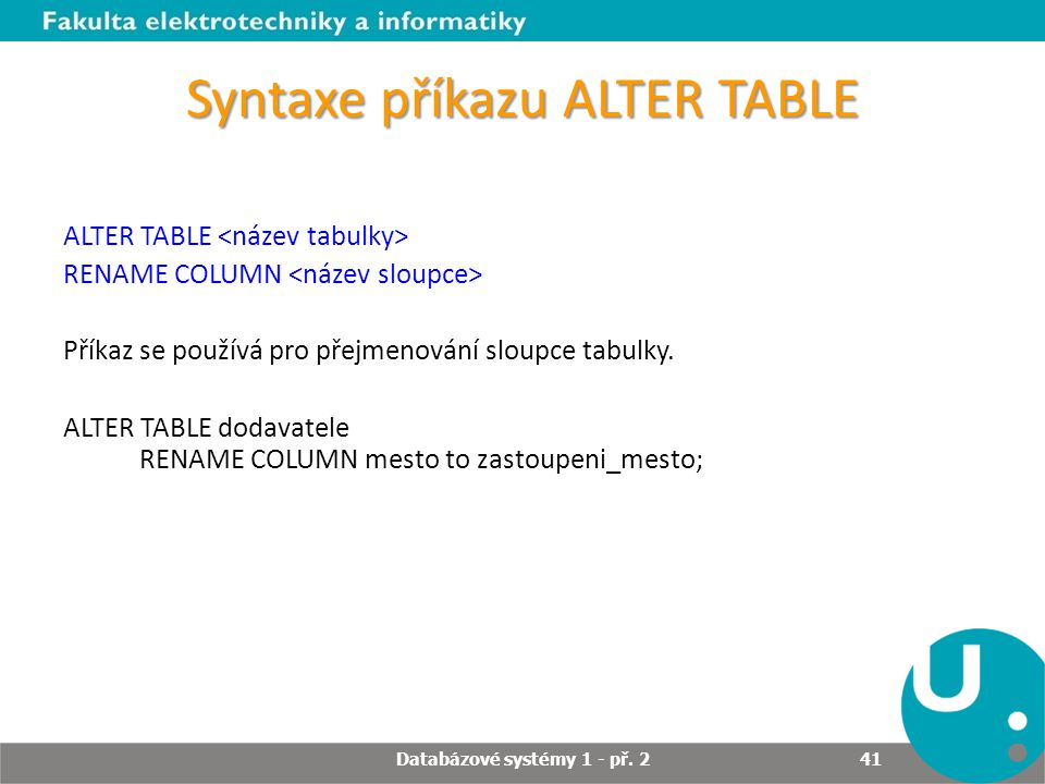 Syntaxe příkazu ALTER TABLE