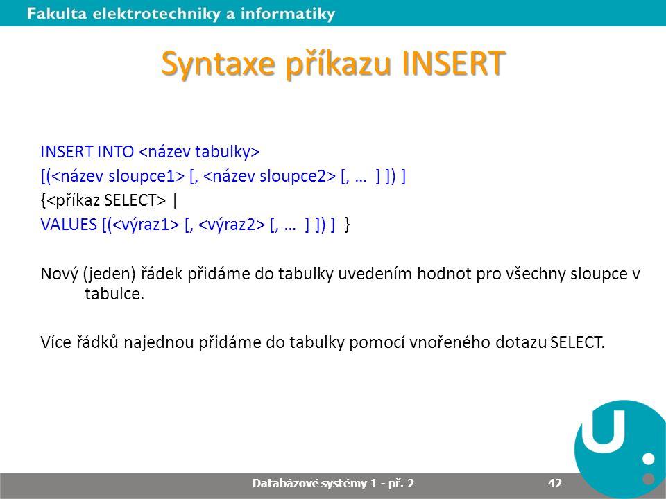 Syntaxe příkazu INSERT