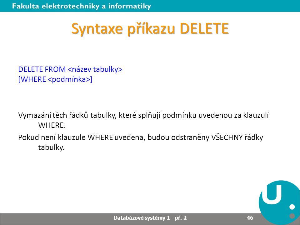 Syntaxe příkazu DELETE