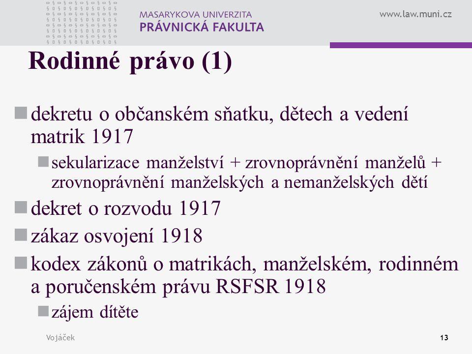 Rodinné právo (1) dekretu o občanském sňatku, dětech a vedení matrik 1917.