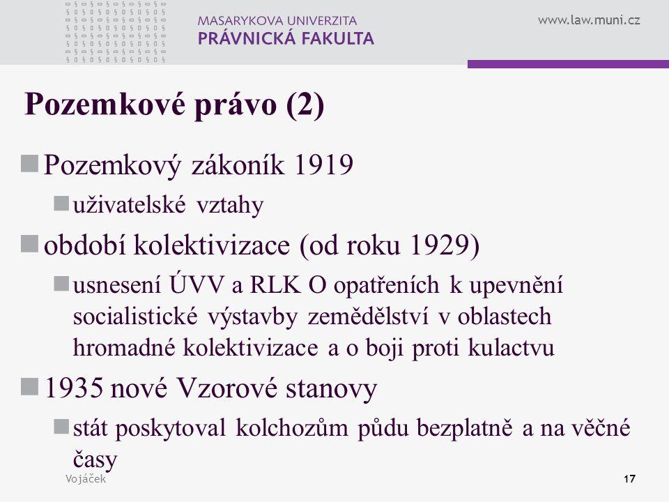 Pozemkové právo (2) Pozemkový zákoník 1919
