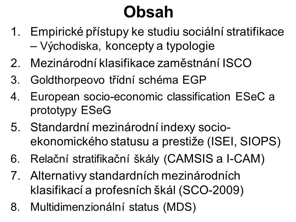 Obsah Empirické přístupy ke studiu sociální stratifikace – Východiska, koncepty a typologie. Mezinárodní klasifikace zaměstnání ISCO.