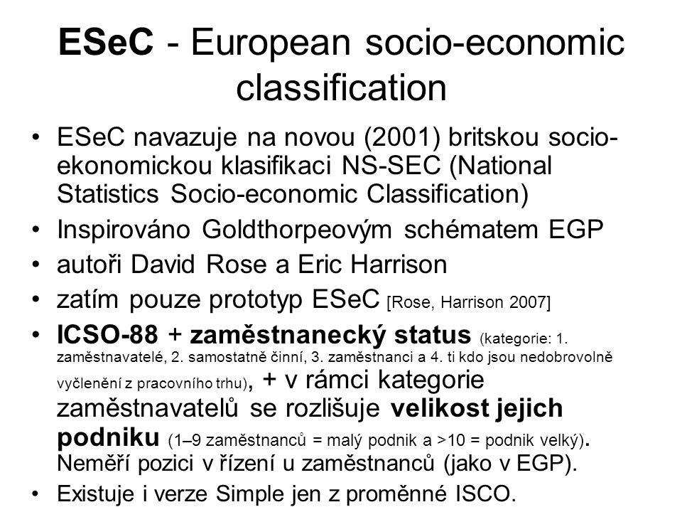 ESeC - European socio-economic classification