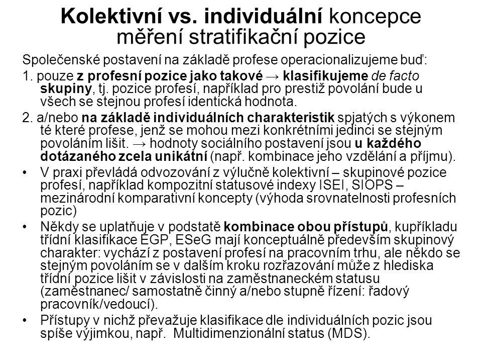 Kolektivní vs. individuální koncepce měření stratifikační pozice