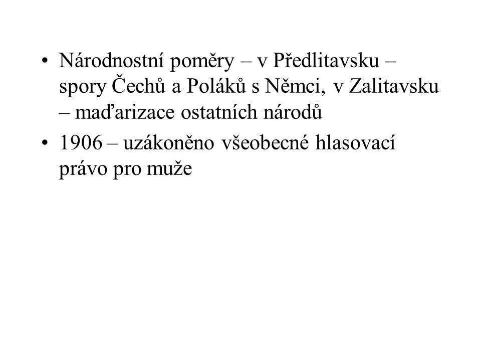Národnostní poměry – v Předlitavsku –spory Čechů a Poláků s Němci, v Zalitavsku – maďarizace ostatních národů
