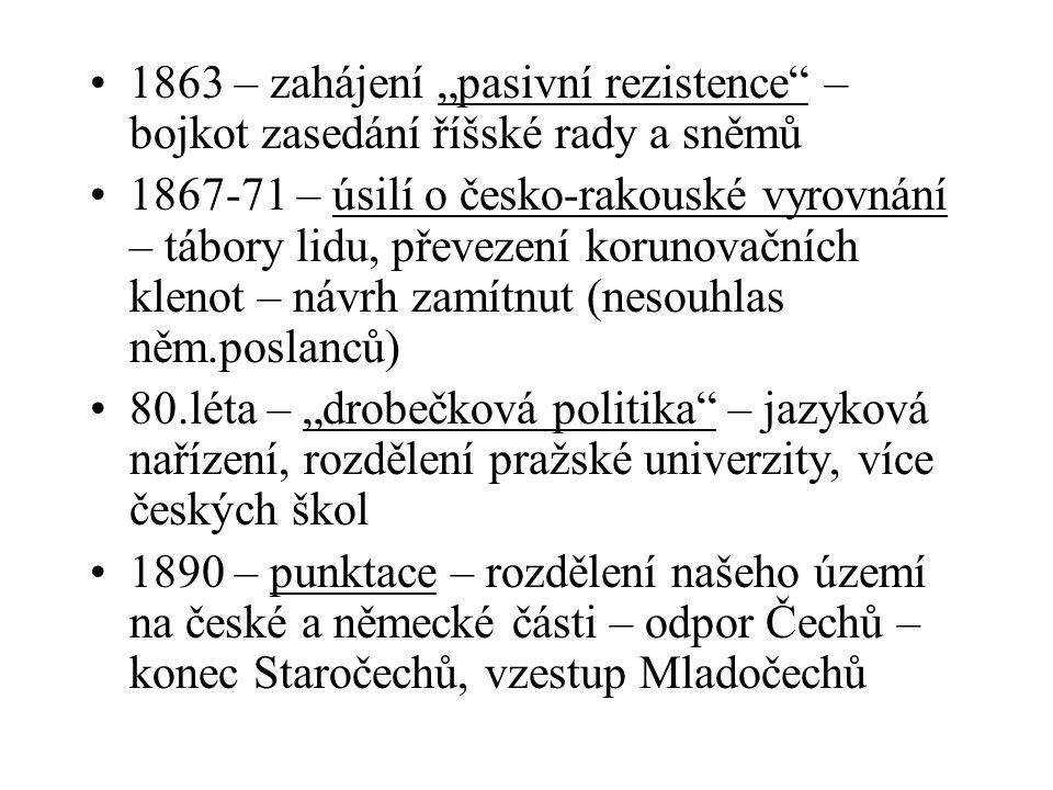 """1863 – zahájení """"pasivní rezistence – bojkot zasedání říšské rady a sněmů"""