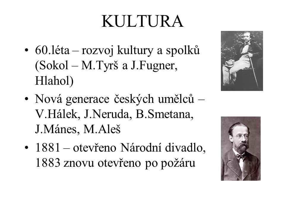 KULTURA 60.léta – rozvoj kultury a spolků (Sokol – M.Tyrš a J.Fugner, Hlahol)