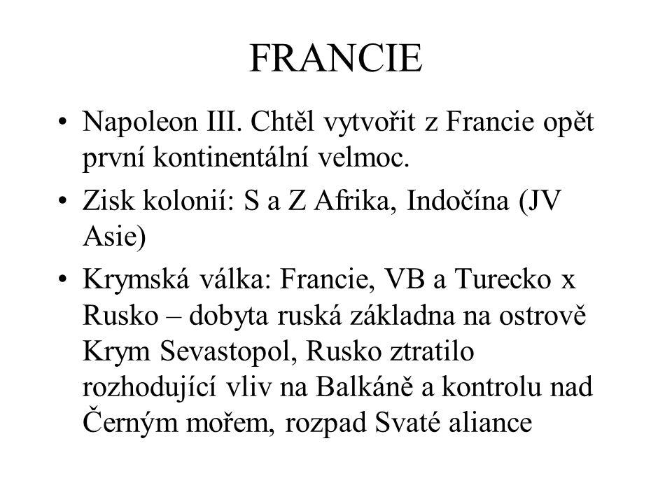FRANCIE Napoleon III. Chtěl vytvořit z Francie opět první kontinentální velmoc. Zisk kolonií: S a Z Afrika, Indočína (JV Asie)