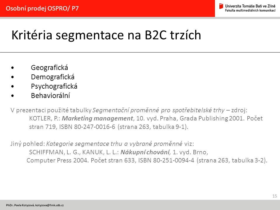 Kritéria segmentace na B2C trzích