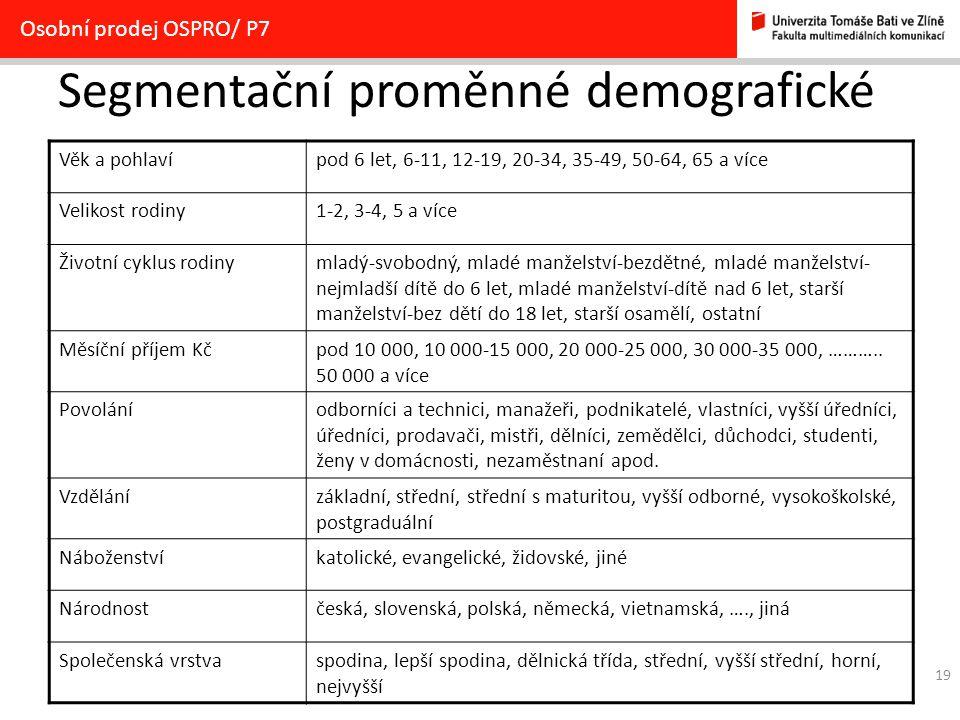 Segmentační proměnné demografické