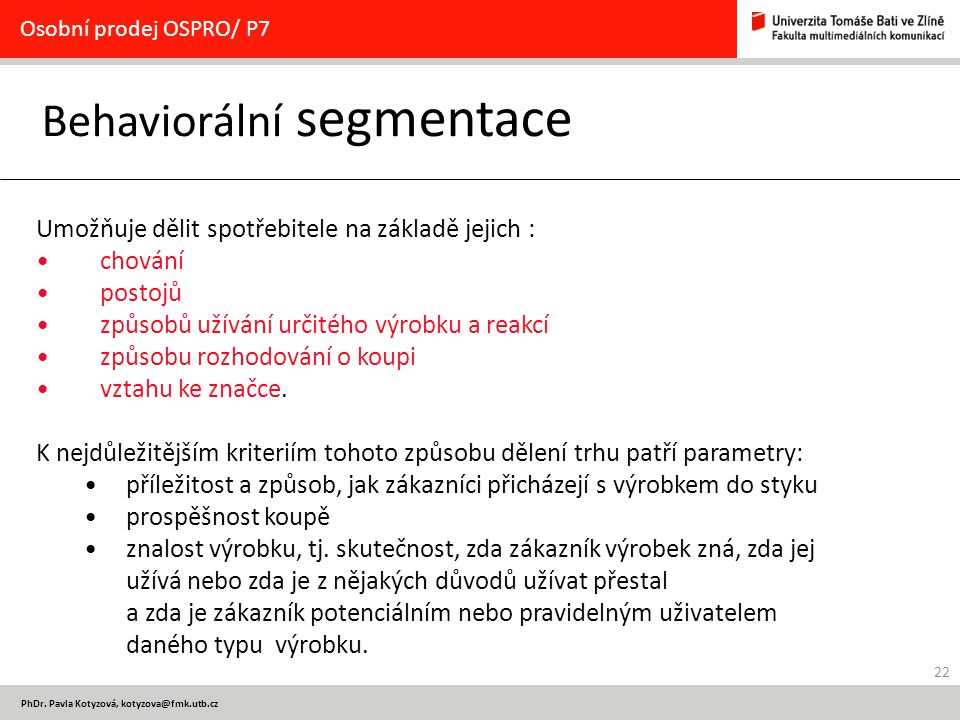 Behaviorální segmentace