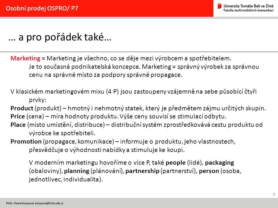 … a pro pořádek také… Osobní prodej OSPRO/ P7
